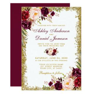 Burgundy Floral Gold Glitter Wedding Invitations B