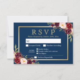 Burgundy Floral Gold Navy Blue Meal Options RSVP