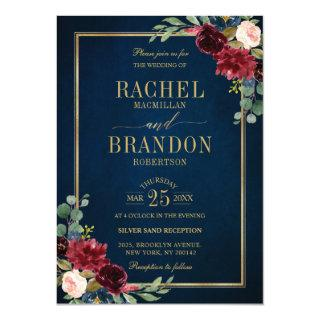 Burgundy Floral Gold Navy Blue Rustic Wedding Invitations