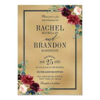Burgundy Floral Gold Navy Blue Rustic Wedding Invitation