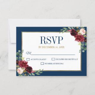 Burgundy Floral Gold Navy Blue Rustic Wedding RSVP Card
