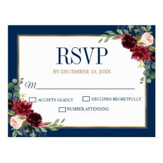 Burgundy Floral Gold Navy Blue Rustic Wedding RSVP Postcard
