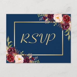 Burgundy Floral Gold Navy Blue Wedding RSVP Reply Invitations Postcard