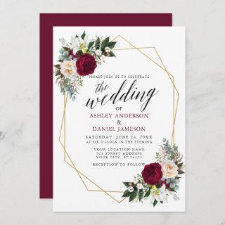 Burgundy Floral Greenery Calligraphy Gold Wedding Invitations