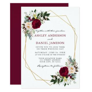 Burgundy Floral Greenery Gold Frame Wedding B Invitation