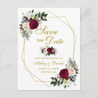 Burgundy Floral Greenery Gold Save The Date Announcement Postcard