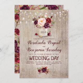 Burgundy Floral Mason Jar Rustic Wedding Invitations