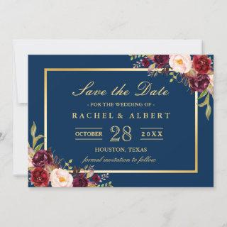 Burgundy Floral Navy Blue Photo Save the Date