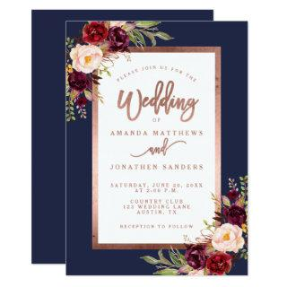Burgundy Floral Navy Blue Rose Gold Script Wedding Invitation