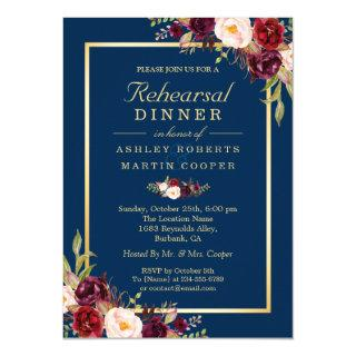 Burgundy Floral Navy Blue Wedding Rehearsal Dinner Invitations