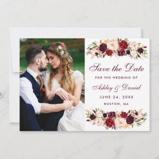 Burgundy Floral Photo Save The Date