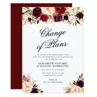 burgundy floral postponed wedding card