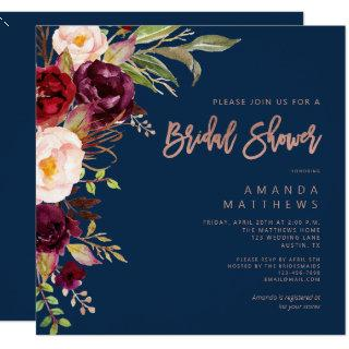Burgundy Floral Rose Gold Navy Blue Bridal Shower Invitations