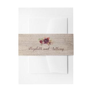 Burgundy Floral Rustic Invitations Belly Band