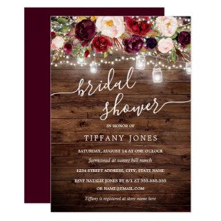 Burgundy Floral Rustic Wood Bridal Shower Invite