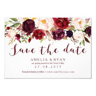 Burgundy Floral Save the Date Card