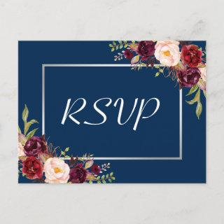 Burgundy Floral Silver Gray Navy Blue Wedding RSVP Invitations Postcard