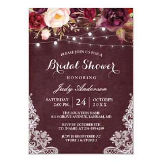Burgundy Floral String Lights Lace Bridal Shower Invitations