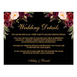 Burgundy Floral Wedding Details Black Insert Card