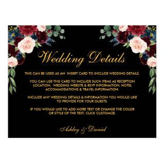 Burgundy Floral Wedding Details Insert Card Black