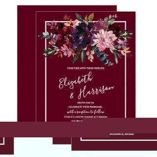 Burgundy Floral White Calligraphy Wedding Invitations