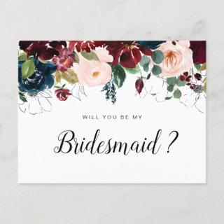 burgundy floral will you be my Bridesmaid card