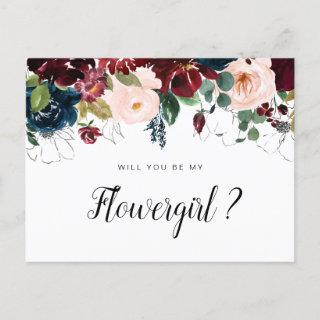burgundy floral will you be my Flowergirl card