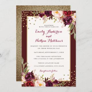 Burgundy Gold Confetti Floral Wedding Invitation