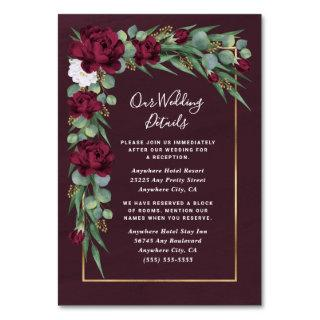 Burgundy Gold Floral Fall Wedding Enclosure Cards