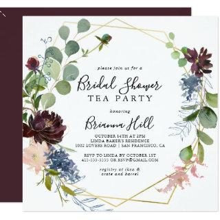 Burgundy Gold Geometric Bridal Shower Tea Party Invitations