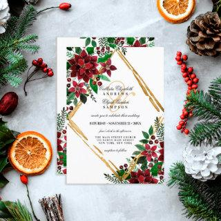 Burgundy Gold Poinsettia Floral Watercolor Wedding