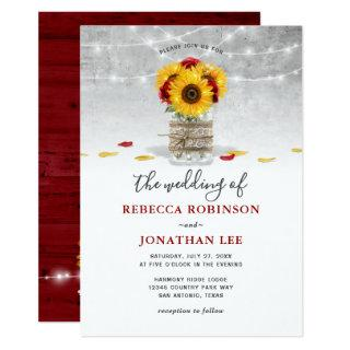 Burgundy Gray Red Rose Sunflower Rustic Wedding Invitations