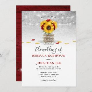Burgundy Gray Red Rose Sunflower Rustic Wedding Invitation