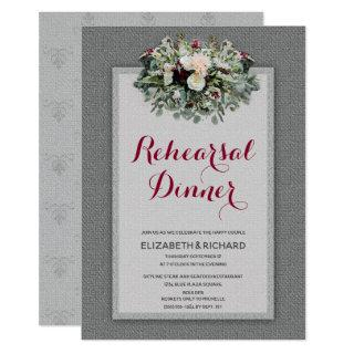 Burgundy Gray Watercolor Floral Rehearsal Dinner Invitations