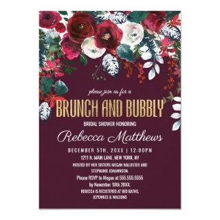 Burgundy Ivory Floral Arrangement Brunch Bubbly Invitation
