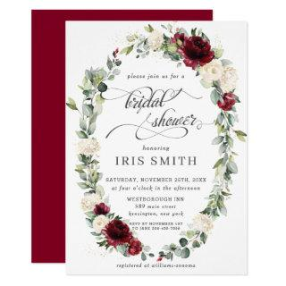 Burgundy Ivory Floral Leafy Wreath Bridal Shower Invitation