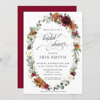 Burgundy Ivory Rust Floral Wreath Bridal Shower Invitation