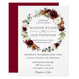 Burgundy Ivory Rust Orange Floral Wreath Wedding Invitations