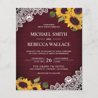 Burgundy Lace Sunflower Budget Wedding Invitations