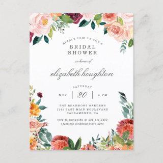 Burgundy Marsala Blush Pink Floral Bridal Shower Invitations Postcard