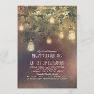 Burgundy Marsala Fall Mason Jar Lights Wedding Invitations