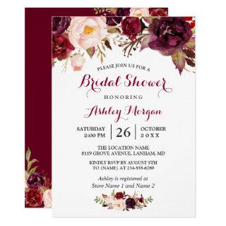 Burgundy Marsala Red Floral Autumn Bridal Shower Invitations