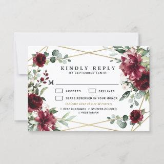 Burgundy Meal Choice Blush Gold Greenery Wedding RSVP Card