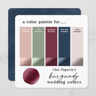 Burgundy & Navy 2021 Wedding Color Palette Card