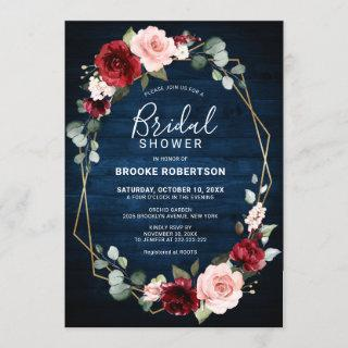 Burgundy Navy Blush Floral Geometric Bridal Shower Invitation