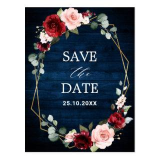 Burgundy Navy Blush Floral Geometric save the date Postcard