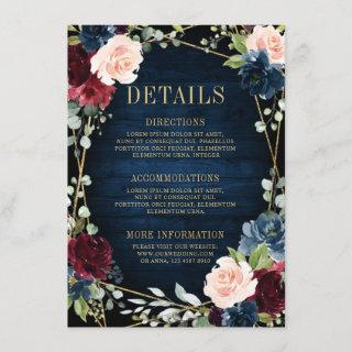 Burgundy Navy Blush Floral Geometric Wedding Enclosure Card