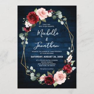 Burgundy Navy Blush Floral Geometric Wedding Invitations