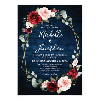 Burgundy Navy Blush Floral Geometric Wedding Invitation