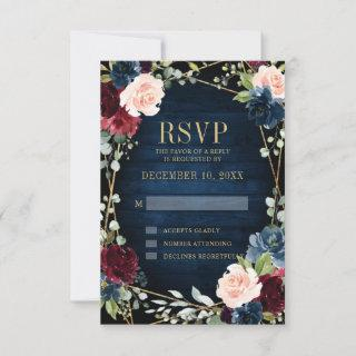 Burgundy Navy Blush Floral Geometric Wedding RSVP Card